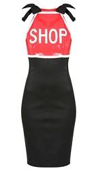 Moschino Embroidered Dress Black Red
