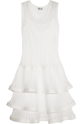Philosophy Ruffled Ribbed Knit Cotton Dress White