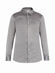 Brioni Button Cuff Cotton Jersey Shirt Grey