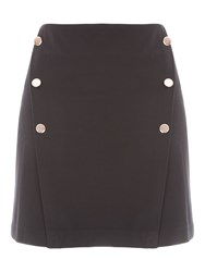 Jane Norman Black And Gold Buttoned Mini Skirt