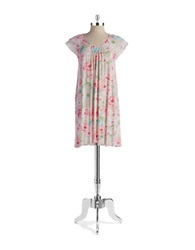Miss Elaine Lace Trimmed Nightgown Pink Floral
