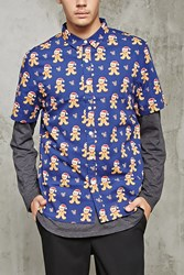 Forever 21 Gingerbread Man Print Shirt Navy Taupe
