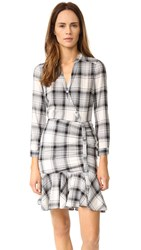 Veronica Beard Ruched Shirtdress Black Grey White