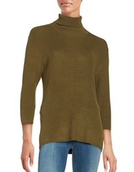 Highline Collective Ribbed Knit Turtleneck Top Green
