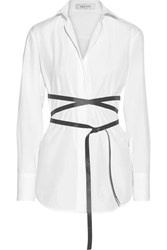 Valentino Belted Cotton Poplin Shirt White