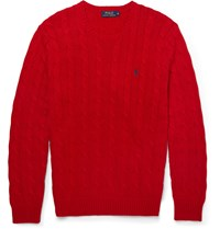Polo Ralph Lauren Cable Knit Cotton Sweater Red