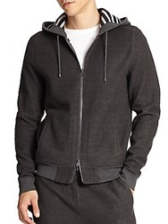 Saks Fifth Avenue Modern Fit Zip Up Hoodie Grey