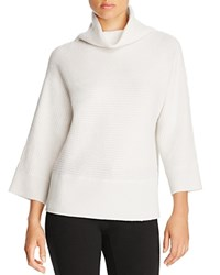 Magaschoni Ribbed Cashmere Turtleneck Sweater Blanc
