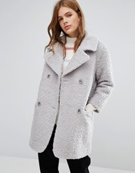 Ymc Fluffy Double Breasted Cocoon Coat Grey