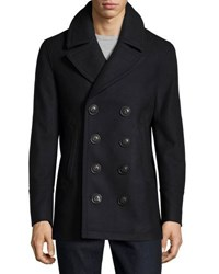 Burberry Iconic Wool Blend Pea Coat Navy