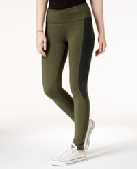 Hippie Rose Juniors' Colorblocked Leggings Heather Forest Olive Heather Black
