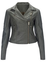 Miss Selfridge Ruby Faux Leather Biker Jacket Khaki