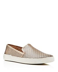 Via Spiga Gianna Perforated Metallic Leather Slip On Sneakers 100 Bloomingdale's Exclusive Gold