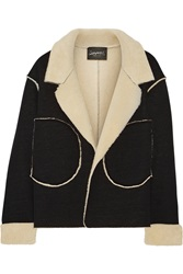 Norma Kamali Faux Shearling And Jersey Jacket Black