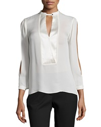 Halston Mandarin Collar Slit Sleeve Silk Blouse