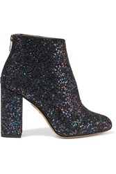 Charlotte Olympia Alba Glittered Canvas Ankle Boots Navy