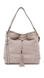 Milly Small Whipstitch Hobo Bag Stone