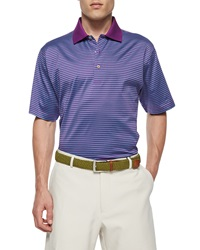 Peter Millar Classic Striped Lisle Knit Polo Shirt Purple