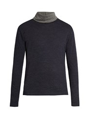 Paul Smith Roll Neck Double Faced Wool Blend Sweater Navy Multi