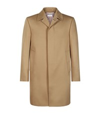 Thom Browne Cotton Twill Mac Overcoat Male Brown