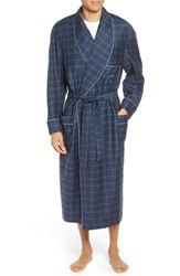Majestic International Men's Mercer Wool And Cashmere Robe Navy Plaid