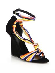 Pierre Hardy Scoubi Leather And Suede Wedge Sandals Multi