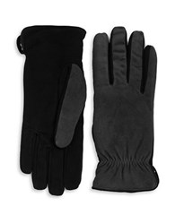 Isotoner Sherpa Lined Suede Gloves Charcoal Grey