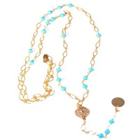 Alicia Marilyn Designs Turquoise Rosary Style Necklace Gold