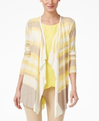 One A Space Dyed Striped Cardigan Sweater Yellow Combo
