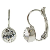 Finesse Swarovski Crystal Leverback Earrings Silver