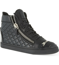 Giuseppe Zanotti Quilted Zip Up High Top Trainers Black