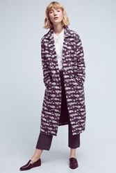 Anthropologie Geometric Jacquard Coat Wine