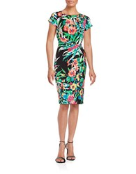 Ellen Tracy Floral Gathered Sheath Dress Black Multi
