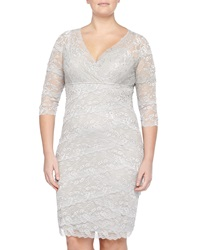 Marina Sequined Crescent Lace Crisscross Cocktail Dress Silver
