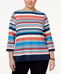 Charter Club Plus Size Striped Boat Neck Top Only At Macy's Coral Bloom Combo