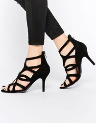 Oasis Caged Heeled Sandal Black
