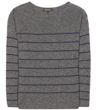 Loro Piana Shepherd Striped Cashmere And Silk Sweater Grey