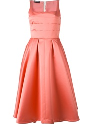 Rochas Pleated Top Flared Dress Pink And Purple