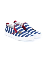 Gucci Striped Boat Shoes Blue White Red Bright Red