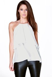 Boohoo High Neck Double Layer Cami White