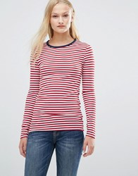 Pieces Raya Stripe Jersey Top Jester Red