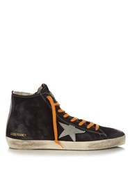 Golden Goose Francy High Top Suede Trainers Blue Multi