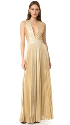Alice Olivia Carisa Sunburst Pleated Gown Light Gold Black