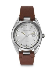 Givenchy Eleven Stainless Steel And Leather Strap Watch Brown Silver Brown