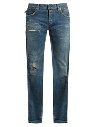 Balmain Distressed Slim Leg Denim Jeans Light Blue