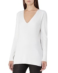 Reiss Harlow Ribbed V Neck Sweater Off White