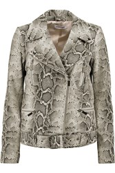 Elizabeth And James Corlyn Snake Effect Textured Leather Biker Jacket Animal Print