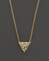 Zoe Chicco 14K Yellow Gold Triangle Pyramid Pave Diamond Necklace 16 Yellow Gold White Diamonds