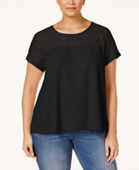 Styleandco. Style And Co. Plus Size Lace Yoke T Shirt Only At Macy's Deep Black