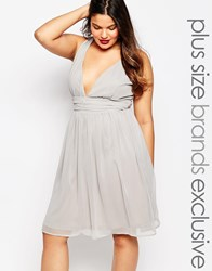 Truly You Midi Plunge Front Cross Back Prom Dress Grey